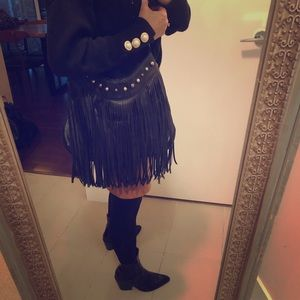 Handbags - Faux leather fringe bag